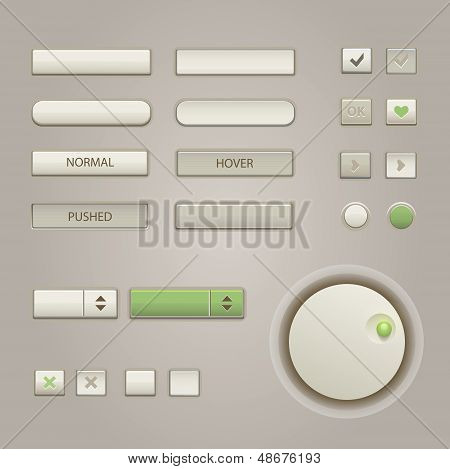 User interface elements: Buttons, Switchers, On, Off, Player, Audio, Video