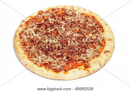 closeup of a barbecue pizza, with mozzarella, ground beef and barbecue sauce, on a white background