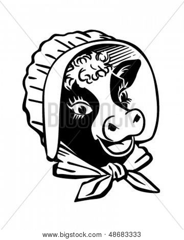 Cow With Prairie Bonnet - Retro Clip Art Illustration