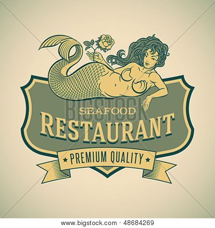 Retro-styled seafood restaurant label including an image of mermaid. Editable vector.