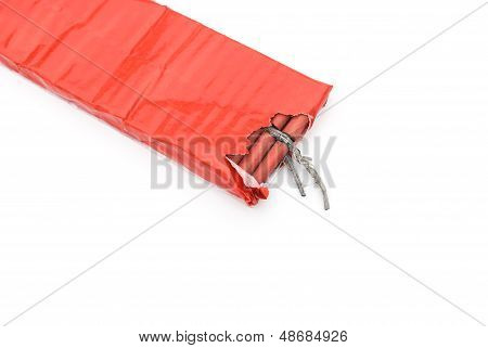 Top View Red Firecrackers On A White Background