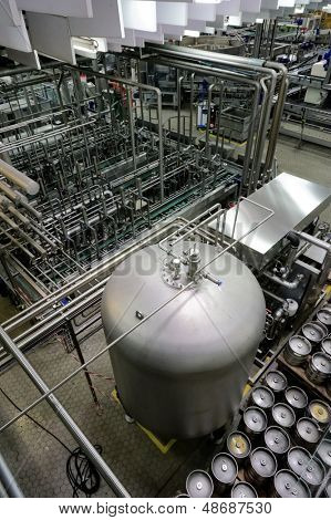 Beer making plant shot in operation