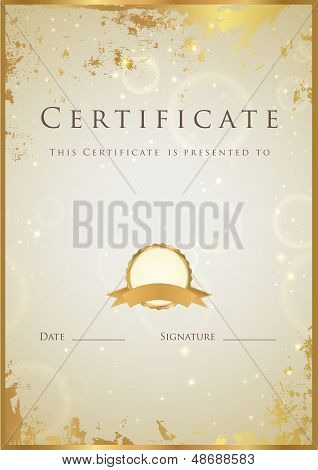 Certificate / Diploma template with golden grunge texture