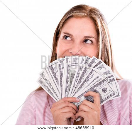Thoughtful woman thinking how to spend her money - isolated over white