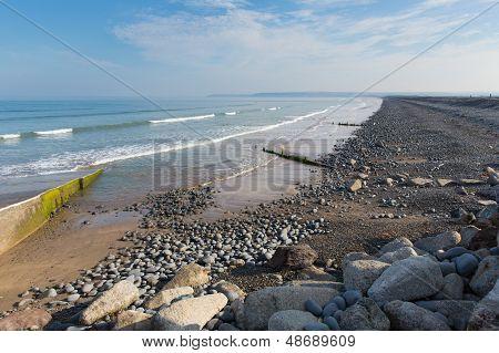 Westward Ho beach and coastline Devon England