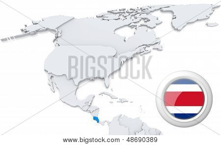 Costa Rica On A Map Of North America