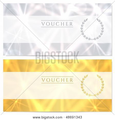 Voucher (Gift certificate, Coupon) template with abstract pattern