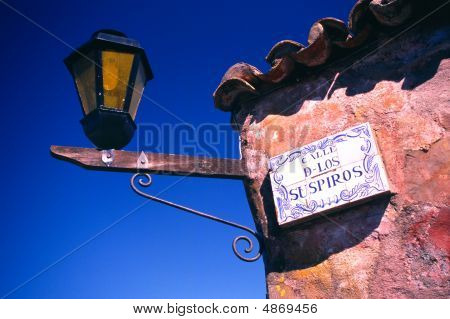 Spanish Street Sign And Lamp