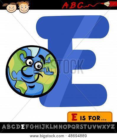 Letra E con tierra de dibujos animados ilustración