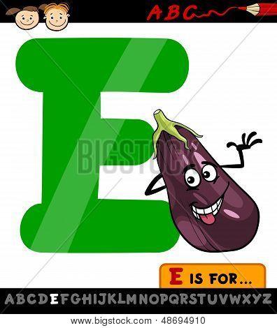 Letra E con ilustración de dibujos animados de berenjena