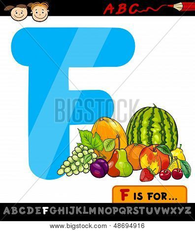 Letter F With Fruits Cartoon Illustration