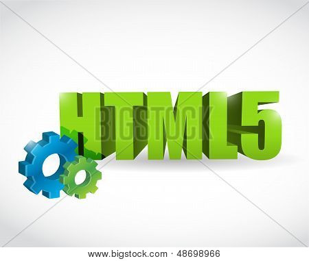Html Gear Text Sign Illustration Design