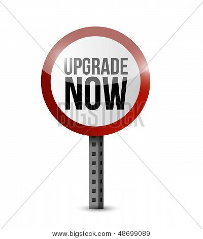 Upgrade Now Road Sign Illustration