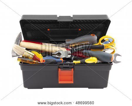 Open black toolbox with tools. Clipping path included.