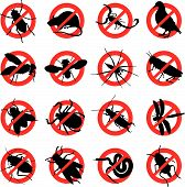 stock photo of pest control  - a set of sixteen warning signs of insects and rodents - JPG