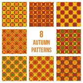 Set of eight seamless patterns