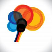 Abstract Colorful Human Brain Icon Or Sign- Simple Vector Graphic