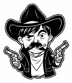 stock photo of gunslinger  - black and white clipart cowboy  - JPG