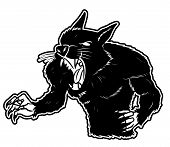 stock photo of beast-man  - black and white clipart were wolf  - JPG