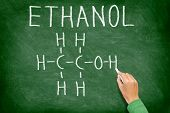 stock photo of ethanol  - Ethanol alcohol chemical molecule structure on chalkboard - JPG