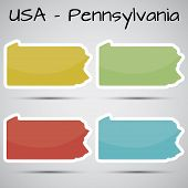 stickers in form of Pennsylvania state, USA