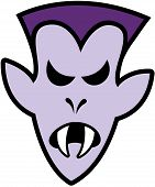 image of terrific  - Terrific purple vampire with elegant hairstyle and sharpen fangs while expressing anger - JPG