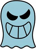 stock photo of maliciousness  - Disturbing blue ghost showing its big teeth while smiling maliciously - JPG