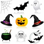 stock photo of witches cauldron  - A Set of Assorted Halloween Holiday Icons - JPG