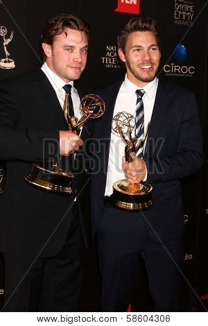 Billy Miller, Scott Clifton in the 40th Annual Daytime Emmy Awards Press Room, Beverly Hilton, Beverly Hills, CA 06-16-13