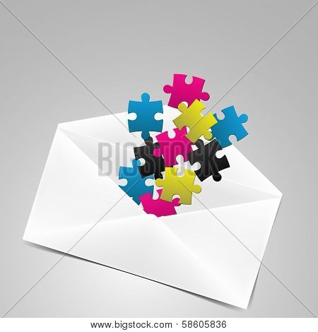 Envelope With Puzzles In Fresh Colors