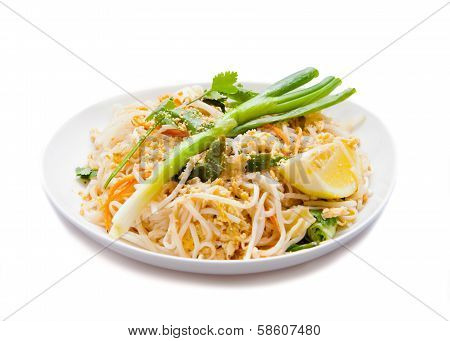 Traditional - Vegetarian Pad Thai dish, Isolated on white