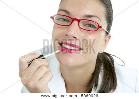 Beautiful Businesswoman Makeup Red Lipstick