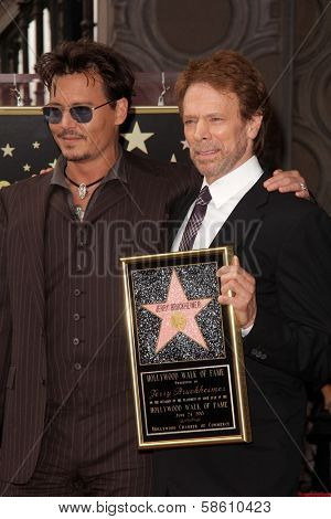 Johnny Depp and Jerry Bruckheimer at the Jerry Bruckheimer Star on the Hollywood Walk of Fame ceremony, Hollywood, CA 06-24-13