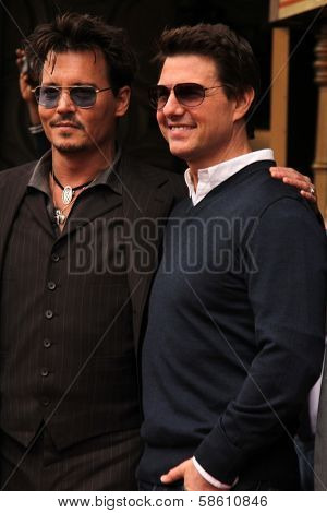 Johnny Depp and Tom Cruise at the Jerry Bruckheimer Star on the Hollywood Walk of Fame ceremony, Hollywood, CA 06-24-13