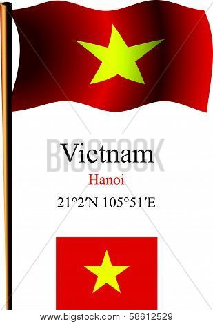 Vietnam Wavy Flag And Coordinates