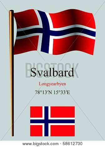 Svalbard Wavy Flag And Coordinates