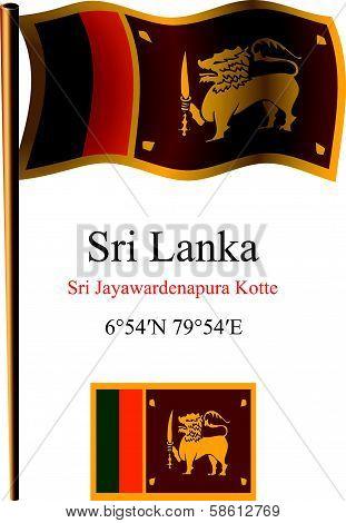 Sri Lanka Wavy Flag And Coordinates