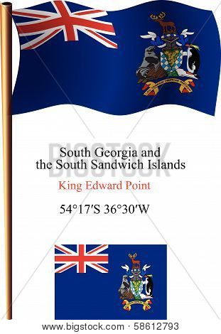 South Georgia And South Sandwich Islands Wavy Flag And Coordinates