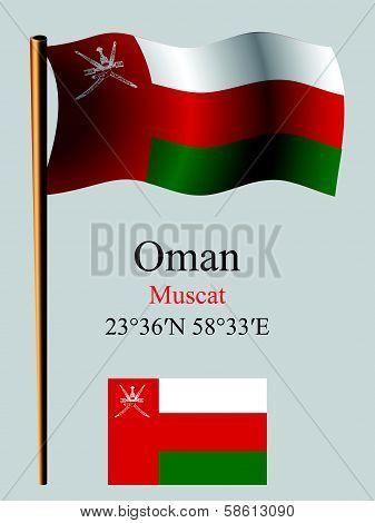 Oman Wavy Flag And Coordinates