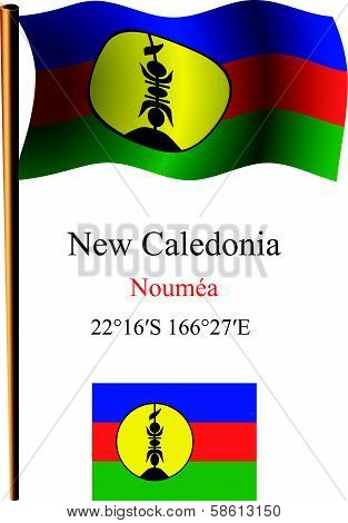 New Caledonia Wavy Flag And Coordinates