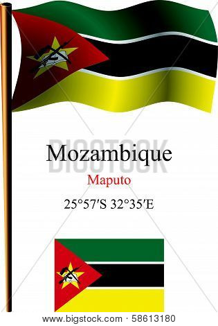 Mozambique Wavy Flag And Coordinates