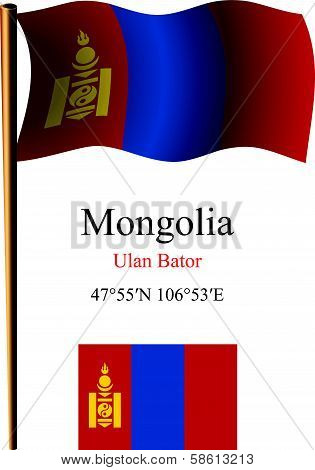 Mongolia Wavy Flag And Coordinates