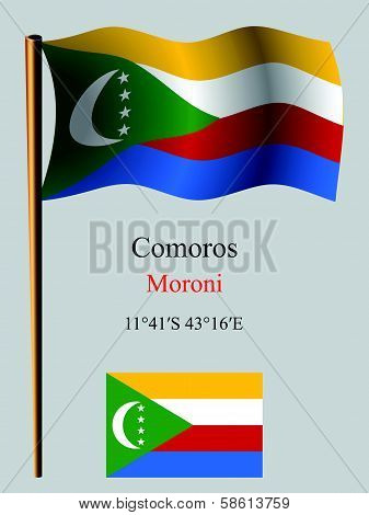 Comoros Wavy Flag And Coordinates