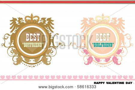 Valentine-best boyfriend and girlfriend badges Love sheet icon