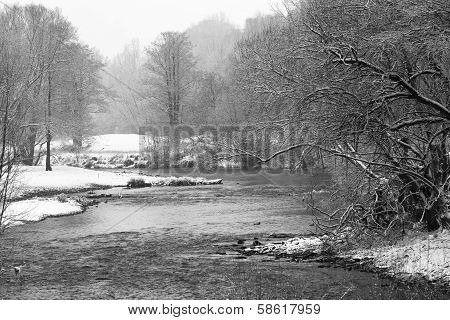 Weisse Elster River In The Fog In Winter, With Trees