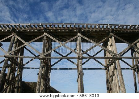 Old Wooden Train Trestle at Fort Bragg California