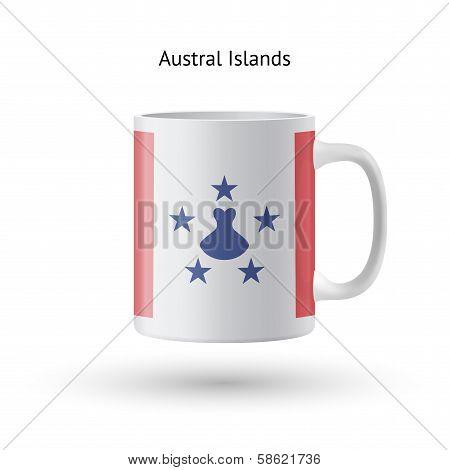Austral Islands flag souvenir mug on white background.