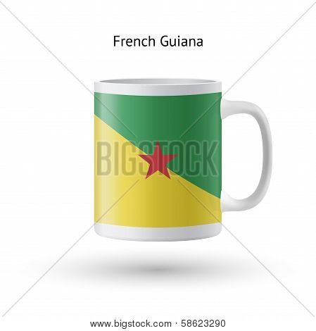 French Guiana flag souvenir mug on white background.