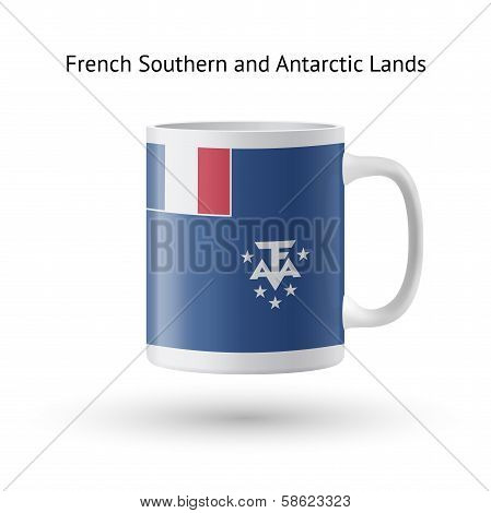 French Southern and Antarctic Lands flag souvenir mug on white.