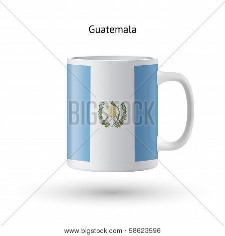 Guatemala flag souvenir mug on white background.